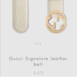 $510 Retailed Gucci white leather signature belt
